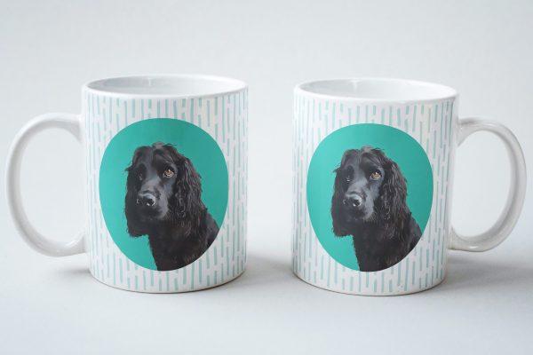 custom dog mug spaniel with teal background
