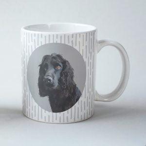 custom dog mug icon design with stripes