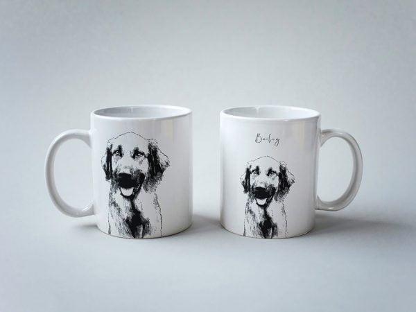 custom dog sketch portrait mug