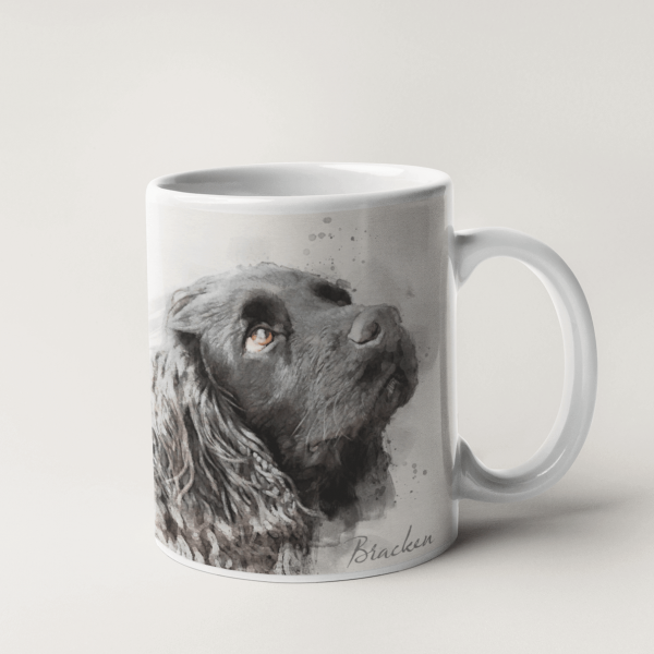 personalised mug with dog portrait in a watercolour style