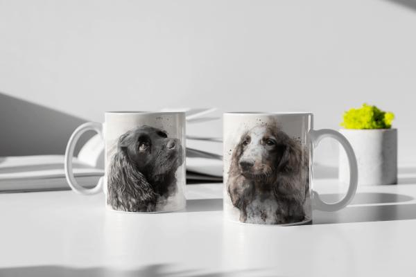 custom dog mug with watercolour portrait