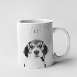 personalised mug with dog portrait in a monochrom sketch style